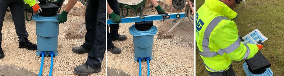 AVK Pentoflow double box water mains to meter box installation